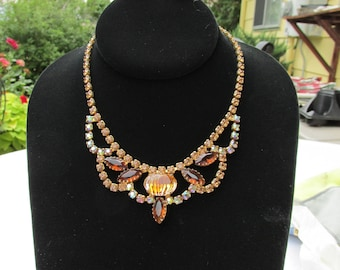 Sale Gorgeous Bib Rhinestone Necklace and Earrings