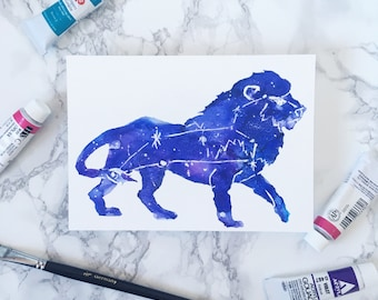 Watercolor Horoscope - Zodiac Constellation Watercolor Painting