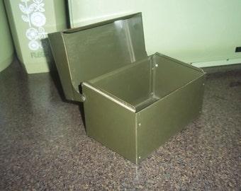 Vintage metal Green Gray Recipe Box File Box