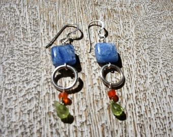 KYANITE, PERIDOT, HOOP earrings: Sterling silver hoops, faceted briolettes. multi-gemstone/ long/ lightweight/ sparkle/ bright color/Boho