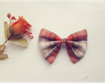 Plaid Hair Bow in Pumpkin Spice - Autumn, Fall, Soft Plaid Hair Bow, Perfect Gift and Fall Fashion Hair Accessory