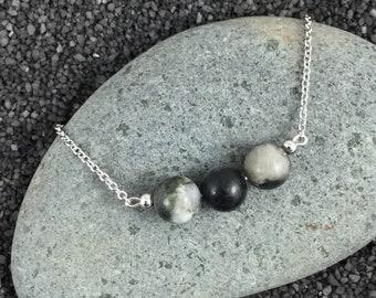 Beaded Bar Necklace - Black Bead Bar Silver Necklace - Black Stone Bar Necklace - Black Silver Necklace - 3 Bead Necklace - Bar Necklace