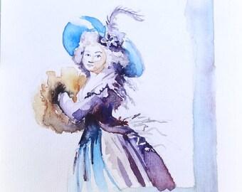 Blauwe historische japon. Originele aquarel.