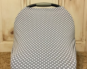 Gray Polka Dot Car Seat Canopy, Nursing Cover, Shopping Car Cover & Scarf