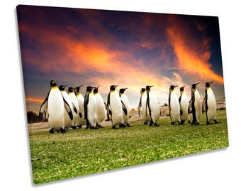 Penguins March Sunset CANVAS WALL ART Print Picture Box Framed