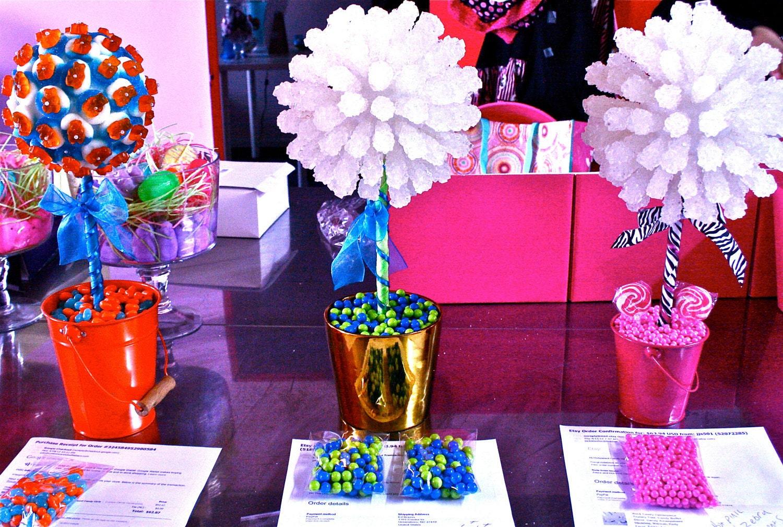Blue green rock candy centerpiece topiary tree buffet