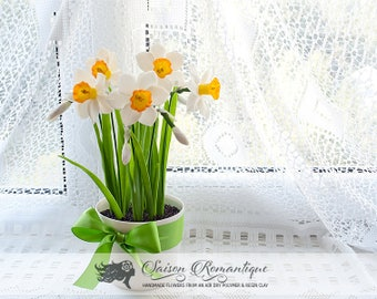 Daffodils in the pot - Polymer Clay Flowers - Mothers Day Gift for Women Daffodils Yellow Gift For Her Flower