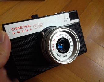 Vintage Soviet 35 mm Camera Smena 8M from 70's in Original Brown Leather case/Manual Compact Photo Camera