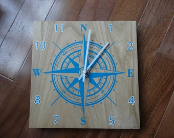 CLEARANCE - Imperfect Compass Wall Clock - Great Gift For The Outdoor Lover