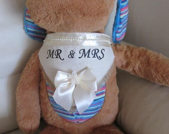 MR & MRS Dog Hessian Bandana Wedding Clothes Accessories