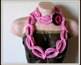 All Wrapped Up Pink Infinity Looped T shirt Jersey Scarf