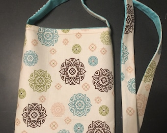 Cream and aqua blue messenger bag