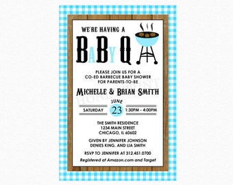 Baby Q Baby Shower Invitation, Barbecue Baby Shower Invitation, Baby Boy Blue, Personalized, Printable File or Printed