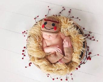Newborn Knitting Pattern, Newborn Beanie Pattern, GINGERBREAD BEANIE & Legwarmers SET, Photography Prop, Lily B's