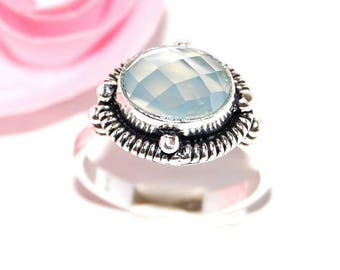 Fine silver and blue chalcedony 925 Silver ring - size 56 - after the beach