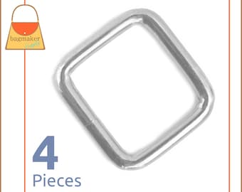 Square Ring 1-3/16 Inch, Nickel Finish, Welded, 4 Pieces, Handbag Purse Bag Making Hardware Supplies, RNG-AA009