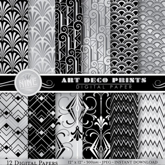 Art deco digital paper silver art deco pattern prints