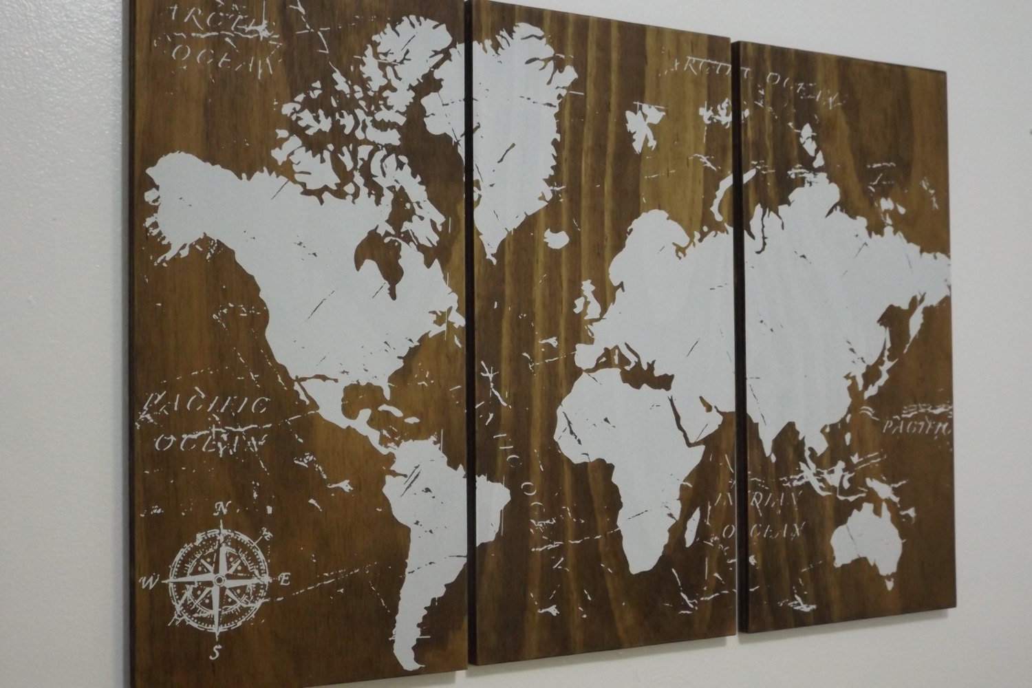 🔎zoom. old world map push pin travel map solid wood wall art