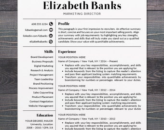 Etonnant Resume Template   CV Template For Word, Mac Or PC, Professional Resume  Design,