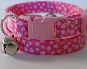 Pink Cat Collar - Kitten Collar - Pink Polka Dot Cat Collar - Fabric Breakaway Cat Collar with Removable Bell - Cute Girl Cat Collar