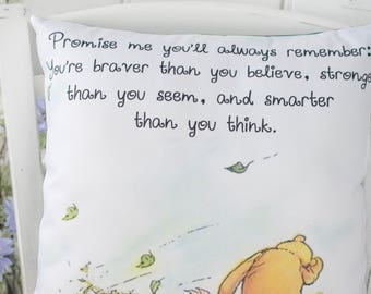 Winnie the Pooh Pillow, Piglet, Braver than you seem, PillowNursery, Classic Pooh, gift for her, gift for daughter, gift for friend