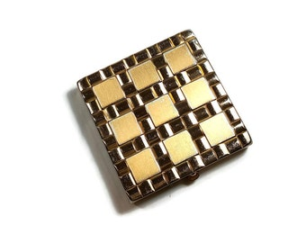 VINTAGE GOLD COMPACT Basketweave Gold Tone Majestic Compact Hollywood Regency Mid Century Retro Compact Mirror Mothers Day Gift