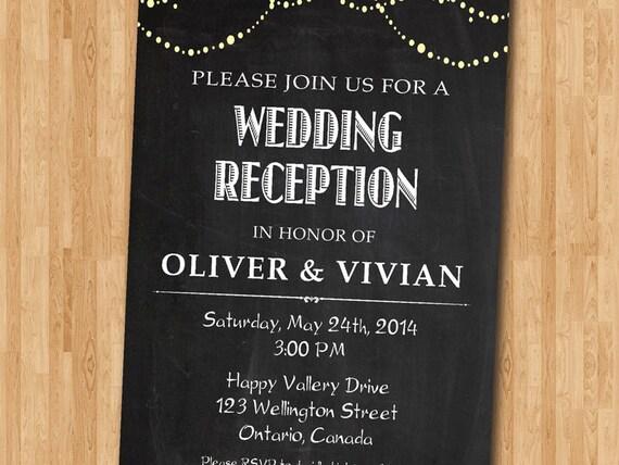 Wedding Reception Invitation Reception Invite Chalkboard - 21st birthday invitations gold coast