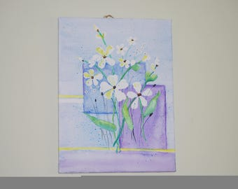 """Floral-light blue and lavender-12x16"""" watercolor on canvas"""