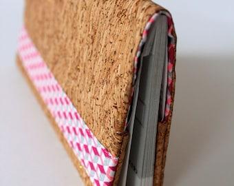 Cork and cotton print checkbook cover / case checkbook