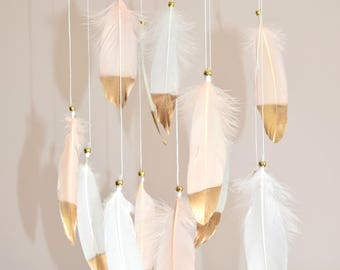 Custom Baby Mobile, Baby Girl Mobile, Nursery Mobile Decor, Dreamcatcher Feather Mobile, Blush Pink Gold Nursery Decor, Hanging  Baby Mobile