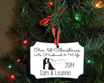 Our First Christmas Ornament - Wedding Gift - Christmas Gift - Engagement Gift - Christmas Gift - Personalized Ornament - Christmas Ornament