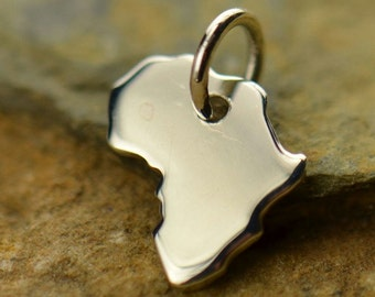 Sterling Silver Africa Charm, Africa Pendant, Traveler Charm, Silver Charms, Africa Necklace, African Charm, Africa Jewery, Ethnic Jewelry