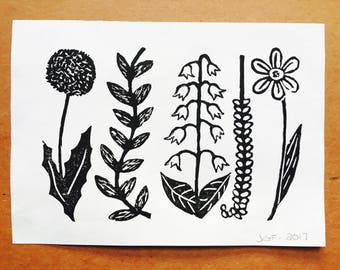 Flower Friends | Linocut Print
