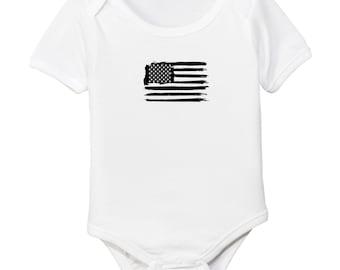 Monochrome Black USA Flag July 4th Organic Cotton Baby Bodysuit