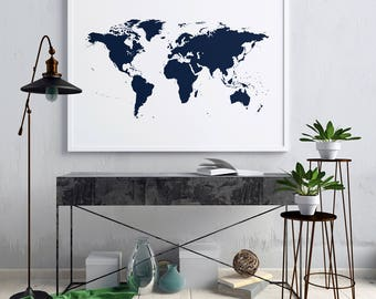 Navy world map etsy navy blue world map navy blue navy world map navy blue wall art gumiabroncs Image collections