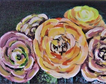 Original Acrylic Flower Painting On Canvas - 4.75x7""