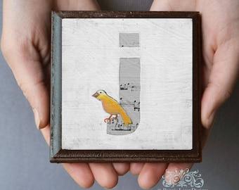 """Bird Nursery Monogram Art Block, Letter J Monogram art, Alphabet Wall Art, Whimsical Bird Print, Letter """"j"""", ABC letters"""