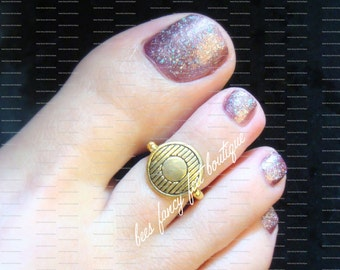Gold Toe Ring, Gold Coin Ring, Gold Ring, Gold Beads, Toe Ring, Ring, Stretch Bead Toe Ring