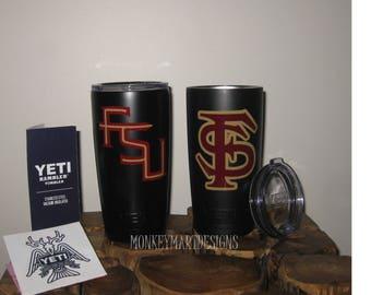 "YETI RAMBLER custom made with ""FSU"" logo,20oz Yeti tumbler cup powder coated black,red, Florida State Seminoles"