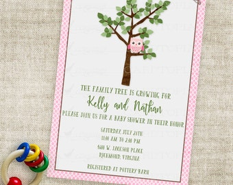 Girl Owl Baby Shower Inviation Family Tree Baby Girl Pink Dots Printable Personalized Custom Digital File with Professional Printing