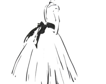 Ballerina minimalist fine art print, black and white ink drawing art, modern ballet art, wall art print of ballerina