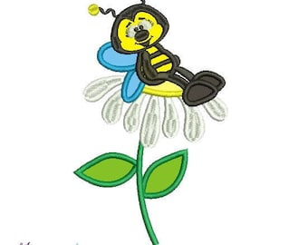 Let's Bee Friends Machine Embroidery Designs Applique,friends, flower, bee, bee applique
