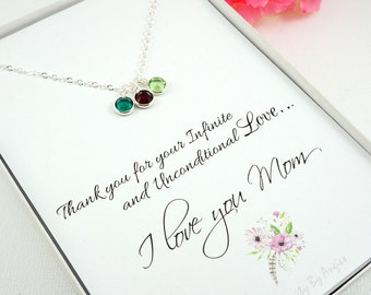 Mom Birthstone Charm Necklace , Mothers Day Gift , Mom Necklace , Mom Gifts , Children Birthstones