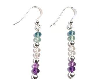 Fluorite and Sterling Silver Drop Earrings