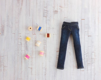 NEW!!! Jeans elastic and worn for Blythe our similar doll ブライス ブライスアウトフィット