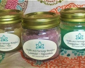 Set of 3 - All Natural Sugar Scrub in Vanilla, Lavender, and Eucalyptus