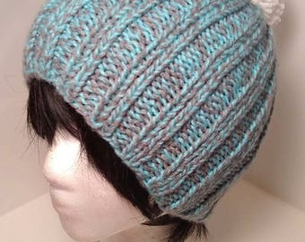 Gray and Light Blue Beanie