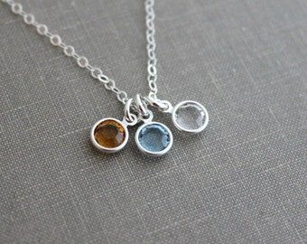 Swarovski Crystal Birthstone Charm Necklace, Sterling silver chain with three birthstone crystals, Mommy Jewelry
