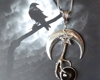 Black Star Diopside and Moon Pendant