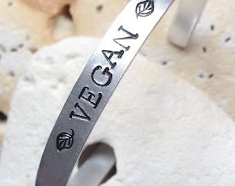Vegan motto cuff bracelet - adjustable - handstamped